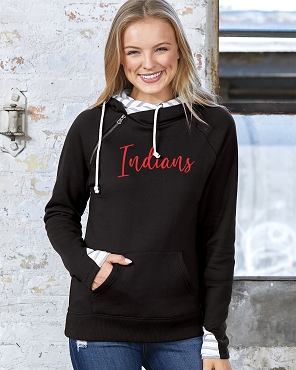 Enza double hood Indians  ( ladies hoodie but runs pretty true to size!)