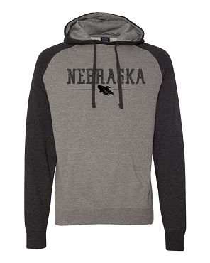 Nebraska Independent brand hoodie with Nebraska in black  (Slim fit hoodie)