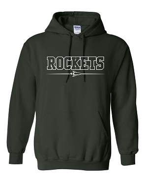 Rockets gildan hoodie forest green youth