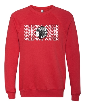 Weeping Water stacked with Indian Adult crew sweatshirt