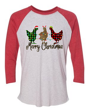 Chicken Christmas raglan